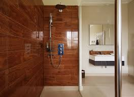 wood tile shower wall antique cherry floating plywood sink vanity