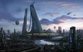 futuristic city building fiction cyber city sci fi art