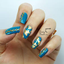 teal u0026 gold nail art with rimmel london lucy u0027s stash