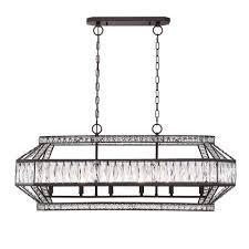 Rectangular Chandelier With Crystals Crystal Bronze Incandescent Chandeliers Hanging Lights