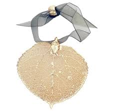 leaf ornament aspen gold plated real leaf