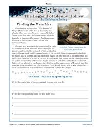 middle main idea worksheet about the legend of sleepy