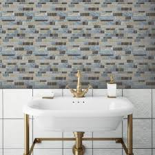 Blue Long Stone StickTILES Peel  Stick Backsplashes RoomMates - Backsplash peel and stick