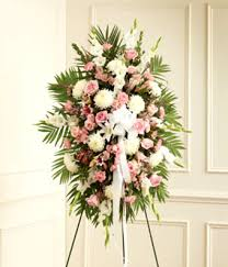funeral spray pink white sympathy standing spray at from you flowers