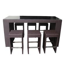 modern black wood high top table set design with storage
