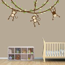 Jungle Wall Decal For Nursery Bedroom Decoration Baby Room Decals Monkey Baby Room Wall Decals