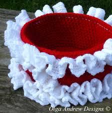 christmas ruffled basket easy crochet tutorial pattern instant