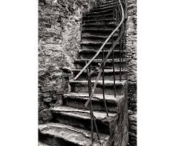 black and white fine art photography print medieval stairway