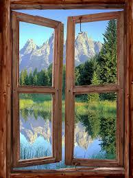 mountain cabin window wall mural