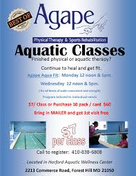therapy classes aquatic therapy agape