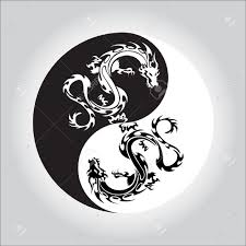 tribal chinese dragon tattoos black and white dragon in yin yang symbol royalty free cliparts