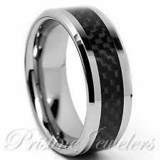 men s wedding bands titanium black carbon fiber silver mens wedding band comfort fit
