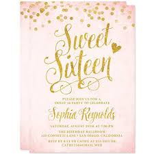 sweet 16 invitations sweet 16 invitations blush pink gold confetti the spotted olive