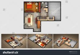 rendered plan three isometric views furnished stock illustration