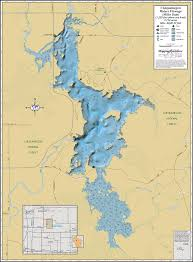 Wisconsin Topographic Map by Chequamegon Waters Flowage Miller Dam Wall Map