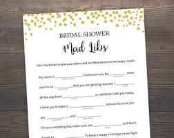 bridal mad libs bridal mad libs gold confetti wedding mad libs