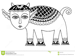 sketch doodle drawing of goat or sheep chinese stock vector