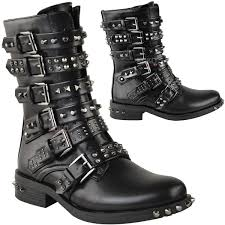 ladies ankle biker boots womens ladies studded ankle boots buckle western biker strappy