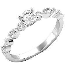inel de logodna aur alb inel de logodna solitaire cu diamante mici pe lateral dama aur alb