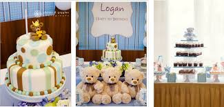 teddy bears in balloons teddy and balloons theme baptism party for boys