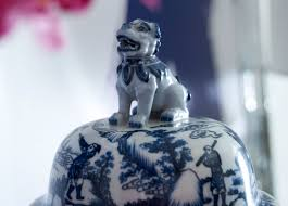 decor blue and white foo dogs jar for home accessories ideas
