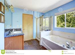 very bright bathroom in light blue color stock photo image 44237441