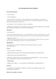 standard format resume resume standard format standard resume format yralaska