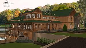 mountain lake house concept home design 3d