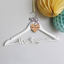 personalized wedding hangers personalised white wedding dress hanger by no ordinary gift