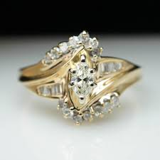 marquise cut wedding set vintage 40ct marquise cut engagement ring 14k yellow gold