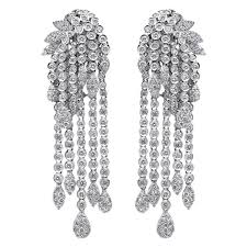 diamond earrings chandelier diamond earrings at 1stdibs