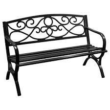 black scroll steel bench at home at home