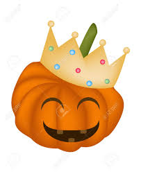 jack o lantern pumpkin wearing a golden crown isolated on white