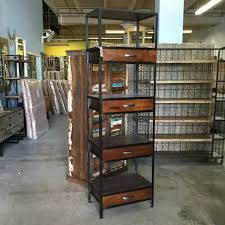 iron and wood bookcase with four drawers nadeau miami