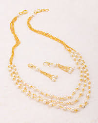 gold plated beads necklace images Buy designer necklace sets gold plated pearl beads necklace set jpg