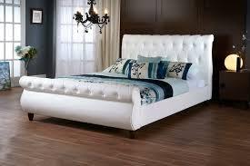 baxton studio ashenhurst white modern sleigh bed with upholstered