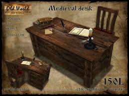 second life marketplace medieval office desk with chair dark
