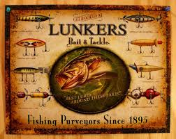 lunkers bait u0026 tackle tin sign outdoors fly fishing lure rod reel