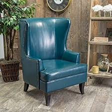 Leather Wing Back Chairs Amazon Com Jameson Tall Wingback Teal Blue Leather Club Chair
