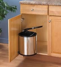 built in trash can cabinet beautiful swing out chrome trash can in cabinet cans at kitchen