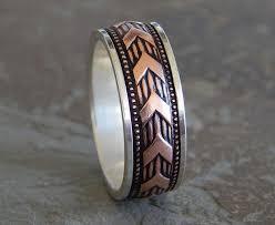 mens rustic wedding bands sargent silver copper men s wedding band unique wedding ring
