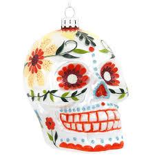 day of the dead 4 inch white skull ornament bronner s