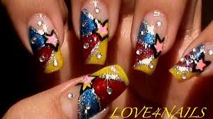 colorful stars nail art design nail art gallery