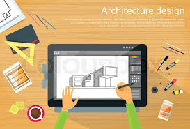 digital drawing website blueprint with professional drawing equipment in flat style