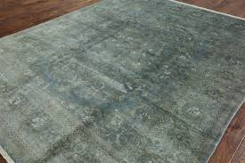 new hand knotted overdye floral rug 8 u0027 x 10 u0027 sky blue brown wool h3331