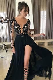 long sleeve sheer tulle black lace evening dresses 2017 split