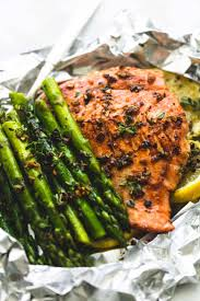 herb butter salmon and asparagus foil packs creme de la crumb