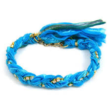 braided bracelet with chain images Cyan vintage ribbon and turquoise rhinestone chain braided jpg