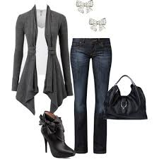 how to dress up cardigan and jeans