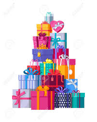 bows for gift boxes mountain of colorful gift boxes on white background big stack